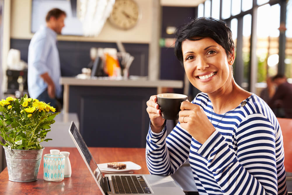 Woman enjoying a cup of coffee at a coffeehouse